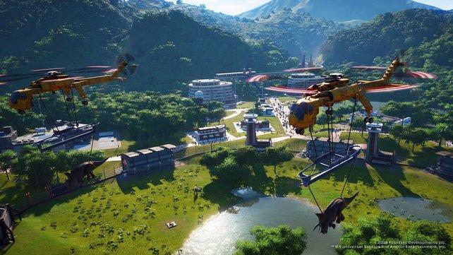 Dino-Transport per Heli. Die Parks verfügen über High-Tech-Mittel.