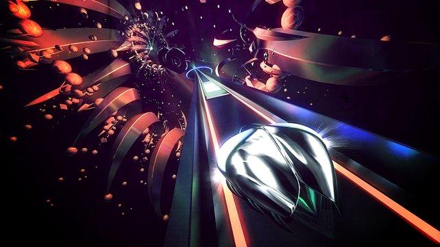 Alptraumhafte Welten bieten sich euch im musikalischen Racer Thumper.