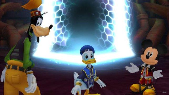 Goofy, Donald Duck und Micky Maus überlegen, was sie als nächstes tun könnten