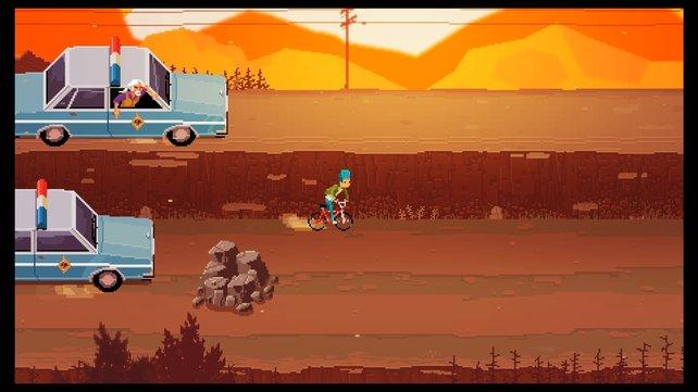 Battletoads meets E.T.: Chris auf der Flucht vor der Polizei.
