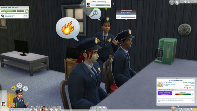Wer war der Täter? Die Kollegen beraten sich.