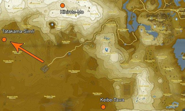 Die Standorte der drei Schreine, die ihr finden müsst.
