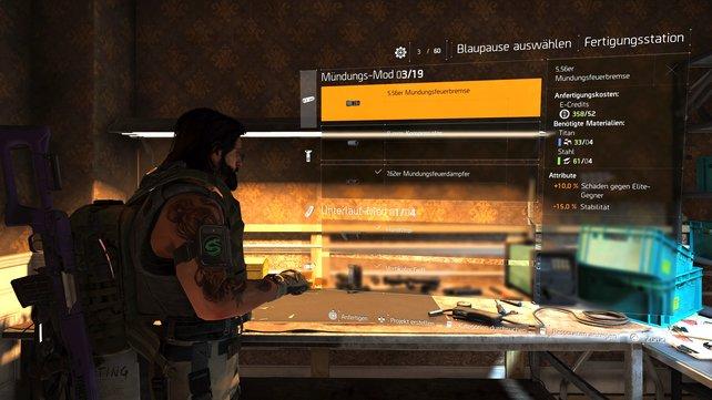 Waffen-Mods herstellen: Die Fertigungsstation findet ihr im Erdgeschoss der Operationsbasis.