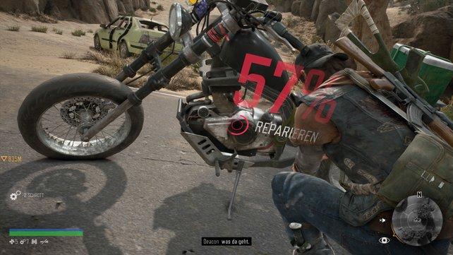 Wenn ihr mit dem Motorrad fahrt, müsst ihr sehr bedacht darauf sein, wie es um das Benzin und den Zustand des Gefährts steht. Sonst kann es passieren, dass es mitten in der Flucht vor Freakern den Geist aufgibt.