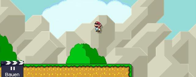 Mario steht scheinbar seelenruhig in der Luft.