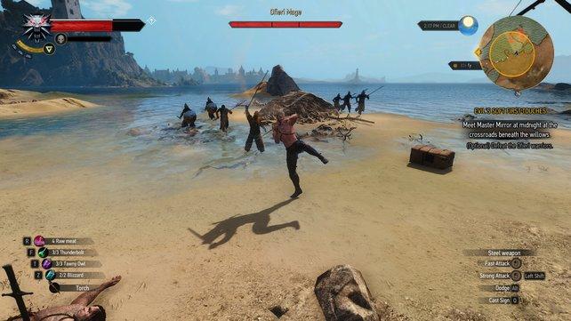 Geralt im Kampf gegen eine Gruppe Ofieri. Besonders der Magier erweist sich als hartnäckiger Gegner.