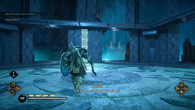 Im Kampf gegen Basim müsst ihr euch darauf einstellen, dass dieser euch per Sprungangriff von oben attackiert.