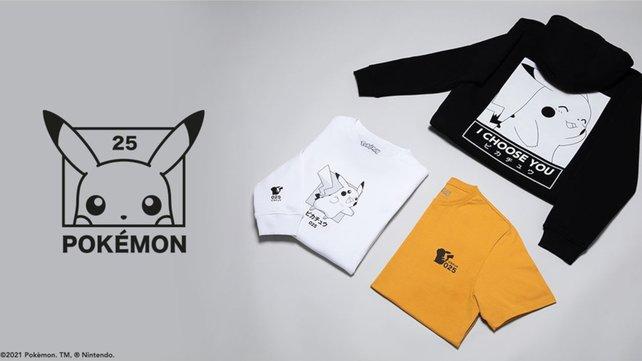 Die neue dreiteilige Bekleidungslinie (Pokémon 25th Anniversary Clothing).
