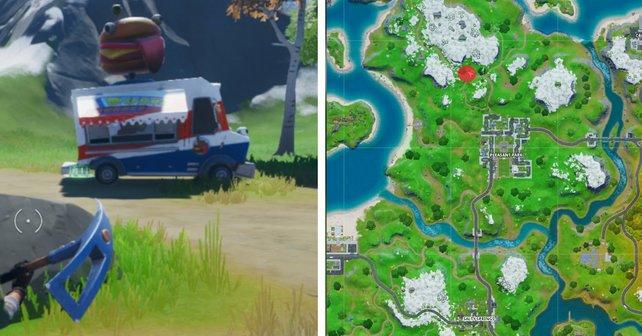 """Der Rote Punkt zeigt verweist auf den Standort des """"Durrr Burger""""-Imbisswagens."""