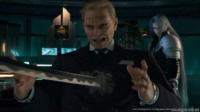 Gerade als Direktor Shinra sich wieder oben auf wähnt, taucht Sephiroth hinter ihm auf und verschafft ihm ein unrühmliches Ende.