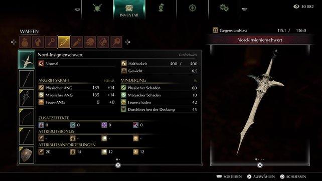 Das Gewicht des Nord-Insignienschwerts liegt bei 6,5. Zudem ist die Waffe auch recht langsam. Der magische Schaden bringt aber ordentlichen zusätzlichen Wums.