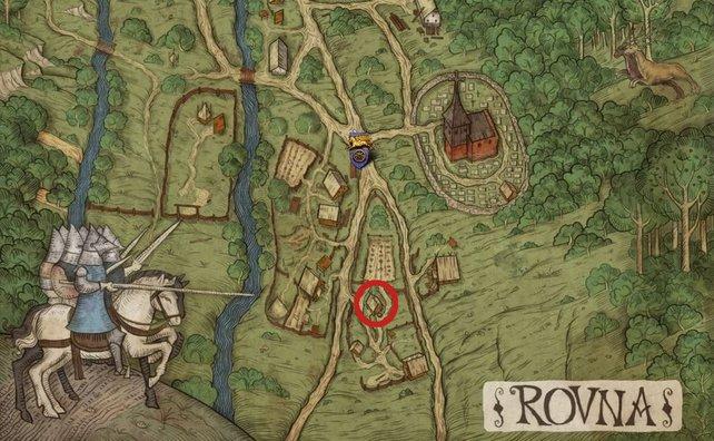 """Hier erhaltet ihr die Quest """"Ein Mann Gottes"""" und müsst Pater Simon zurück nach Rowna bringen."""