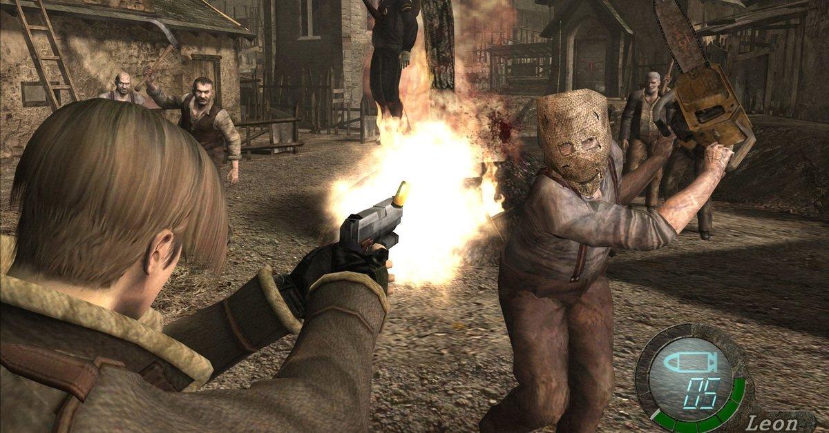 Resident Evil 4   Spieler tötet Dr. Salvador mit einer Tür
