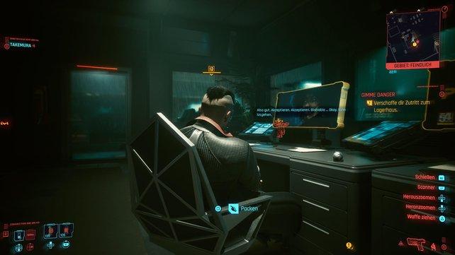 Im Erdgeschoss des Sicherheitsgebäude sitzt eine einsame Wache vor dem Bildschirm, die ihr einfach ausschalten könnt.