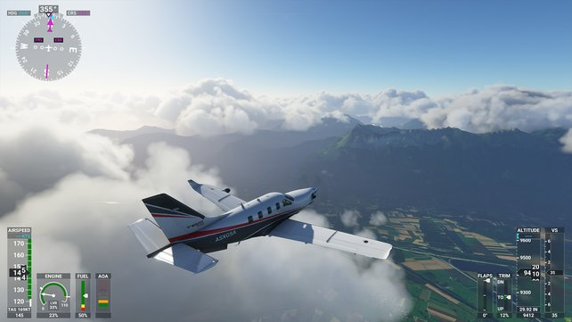 Verschiedene Wolkenebenen, Auf- und Abwinde und realistisches Wetter rütteln euren Flieger durch.
