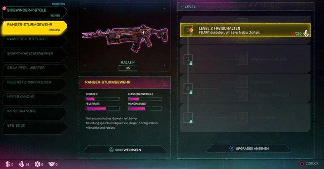 Über das Menü könnt ihr alle Waffen einsehen und mit Feltrit upgraden.