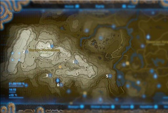 """Die Karte mit den Schreinen der Region """"Gerudo-Turm""""."""