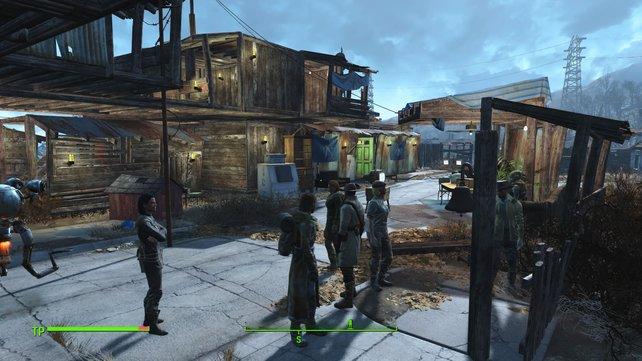 Eine belebte Siedlung mit glücklichen Bewohnern.