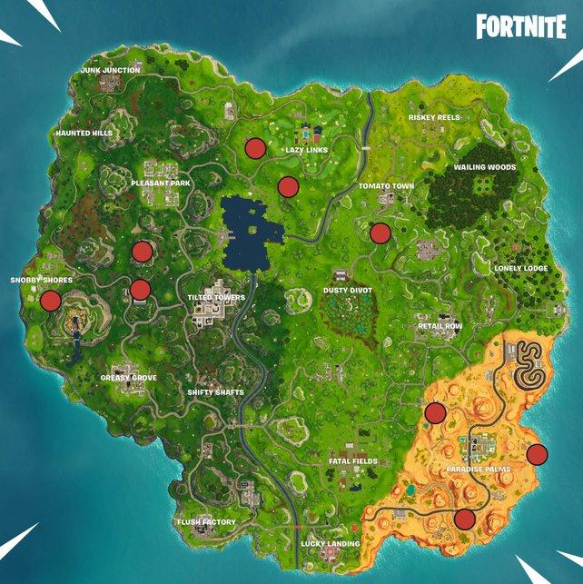 Die Karte zeigt euch neun Standorte der Ringe.