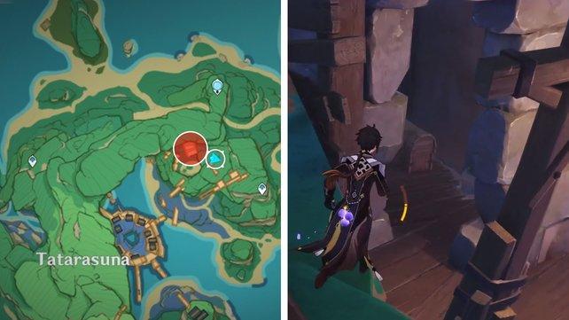 Die Karte zeigt euch den ersten Fundort eines Schlüssels zu einem Ort.