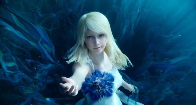 Luna reicht Noctis die blaue Blume, die sich in den Ring der Macht verwandelt.