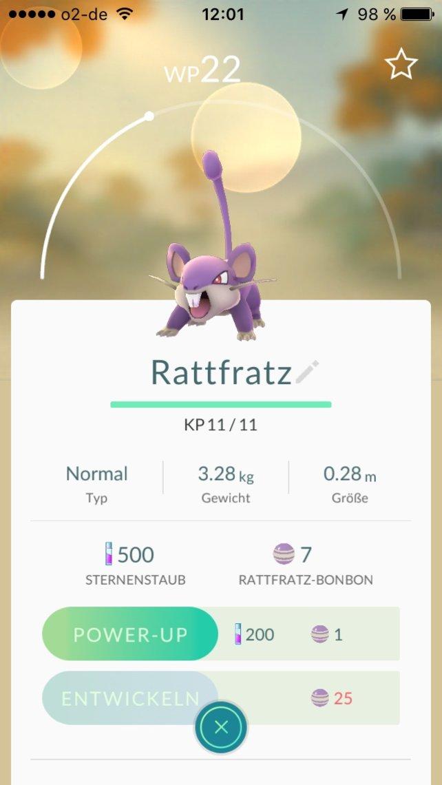 Jedes weitere Power-Up füllt den Balken über dem Pokémon.