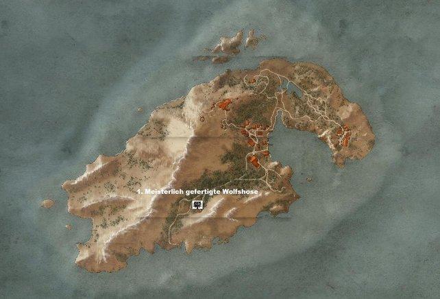 Wolfsschulenausrüstung auf der nordwestlichen Insel in Skellige