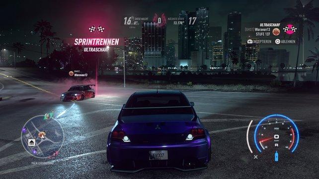 Multiplayer gefällig? Hier lädt uns ein anderer Racer zu einem Rennen ein.