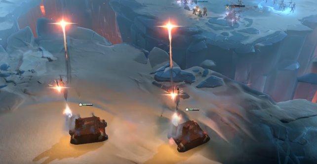 Der Whirlwind Artillerie-Panzer feuert eine tödliche Raketensalve ab.