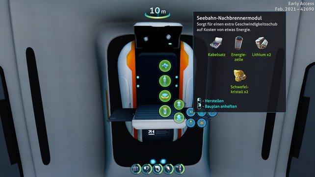 Die meisten Fahrzeug-Erweiterungen stellt man einfach an einem Fabrikator her (Bild: Subnautica: Below Zero | Unknown Worlds Entertainment)