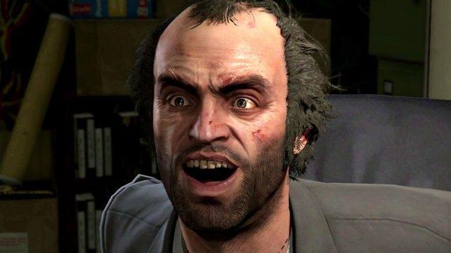 Auf diesem Bild repräsentiert Trevor perfekt das aktuelle Empfinden vieler Spieler: Zeitweise war der gesamte Reichtum in GTA Online weg.