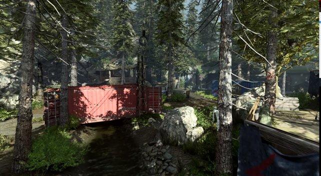"""Die Karten von Gunfight, hier Pine, zeichnen sich durch klassische """"3 Wege""""-Struktur und ihre Größe aus."""