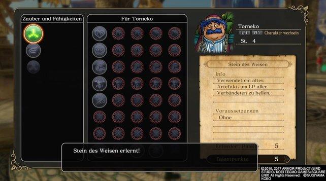 Im Menü könnt ihr die Talentpunkte aller Charaktere verteilen - tut dies vor jeder Schlacht!