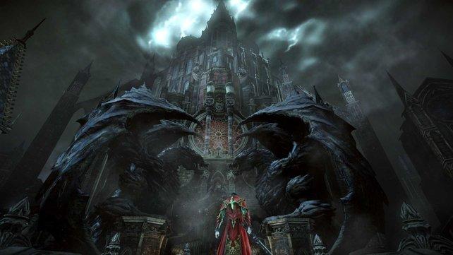 Dracula steht vor seinem Schloss.