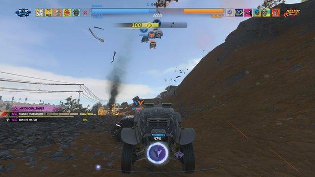 Am Himmel fliegen gerade meine Team-Mitglieder (blau) und meine Gegner (orange). Ziel ist es, möglichst nah an meine Mitglieder heranzufahren.