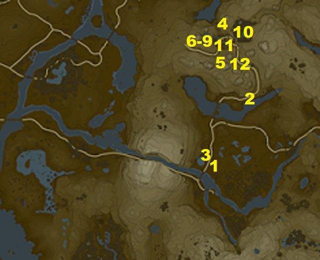 Das sind die Fundorte aller 12 Nebenquests am Turm der Zwillingsberge in Zelda - Breath of the Wild.