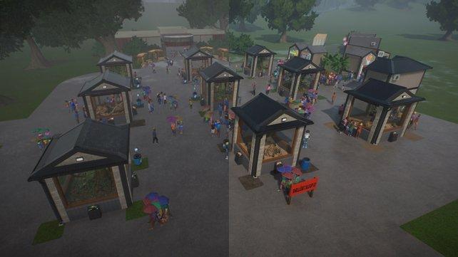 Auf dem Bild seht ihr Planet Zoo unter minimalen Systemeinstellungen (links) und unter maximalen Systemeinstellungen (rechts) im direkten Vergleich.