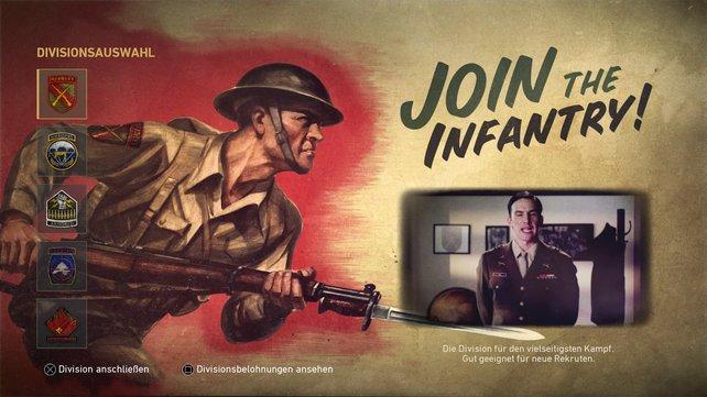 Fünf Division (also Klassen) lassen sich im Multiplayer-Modus von Call of Duty WWII spielen. Einsteiger heuern bei der Infanterie an, um mit einem Allround-Soldaten in die Schlacht zu ziehen.