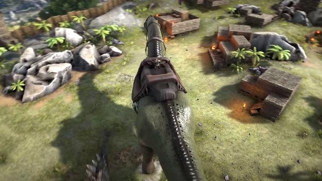 Wenn ihr bei ARK: Survival Evolved Dinos zähmt, dann könnt ihr sie unter anderem reiten.