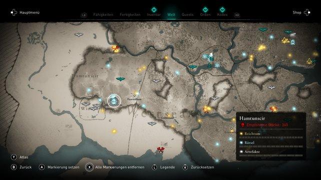 Der siebte Schatz Britanniens in der Rotflechten-Höhle auf der Karte.
