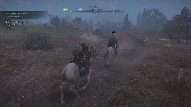 Steigt auf das bereitgestellte Pferd und folgt Toka, die euch zu ihrem Onkel Sigfred führt.