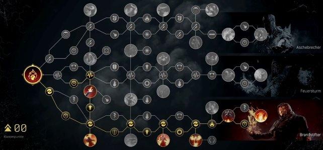 So könnte der Talentbaum eures Pyromanten mit dem beschriebenen Build aussehen.