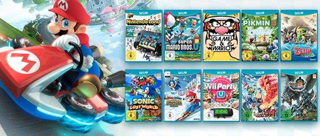 Aus diesen Spielen dürfen sich Käufer von Mario Kart 8 eines gratis aussuchen.