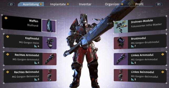 Ganz schön futuristisch: Legt die komplette MG-Gorgon-Rüstung an und profitiert von den Set-Boni.