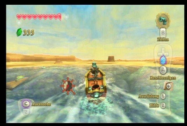 Mit dem Boot fahrt ihr durch die Wüste zum Haus des Kapitäns - wo ihr eine Seekarte finden sollt.