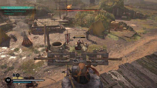 Beim Angriff von Eogans Truppen lohnt es sich, die Balliste vor dem Zelt gegen eure Gegner einzusetzen.