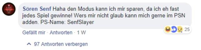 Mit beinahe 100 Kommentaren wurde auf Sören reagiert.