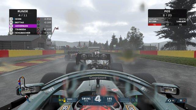 Mit den richtigen Controller-Einstellungen in F1 2021 behaltet ihr auch im Regen die volle Kontrolle.
