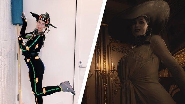 Auch während der Performance Capture darf Lady Dimitrescus Hut nicht fehlen.