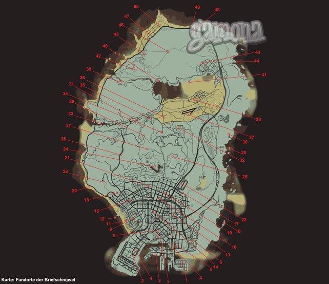 Die Fundorte der Briefschnipsel. Klickt auff die Map zum Vergrößern.